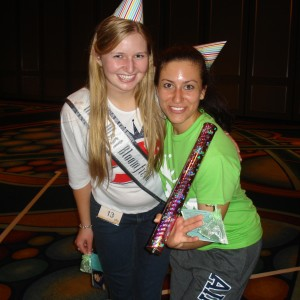 Natasha Dabrowski of Michigan and Team Ambition member Lindsay at the Birthday Themed Rehearsal