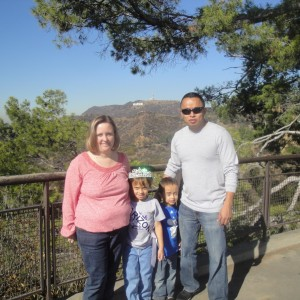 Miss Arizona Gabriela Bustillos and family near the Hollywood sign
