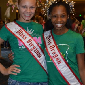 Oregon Preteen Queen Hailey Kilgore with Virginia Preteen Queen Kailee Horvath ready for Crazy Hair Rehearsal