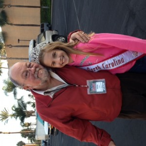 Hannah getting Ken to smile on an early and cold Hollywood Tour Morning!