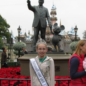 Rachel with Walt Disney and Mickey