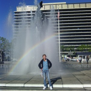 All-American contestant Ainsley Van Reusen, from Utah, found a rainbow in a fountain in L.A.