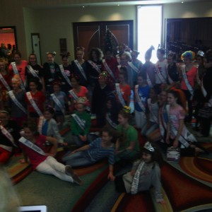 Pre-teen contestants ready for Crazy hair rehearsal!