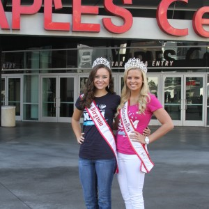 Miss Va Jr. Teen Sydni Alexander with National Teen Jenna Diller at the Staples Center