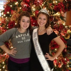 Adrienne Foret Miss Montville, CT Jr Teen with Sister Avalon Marriott Lobby Christmas Tree 2012
