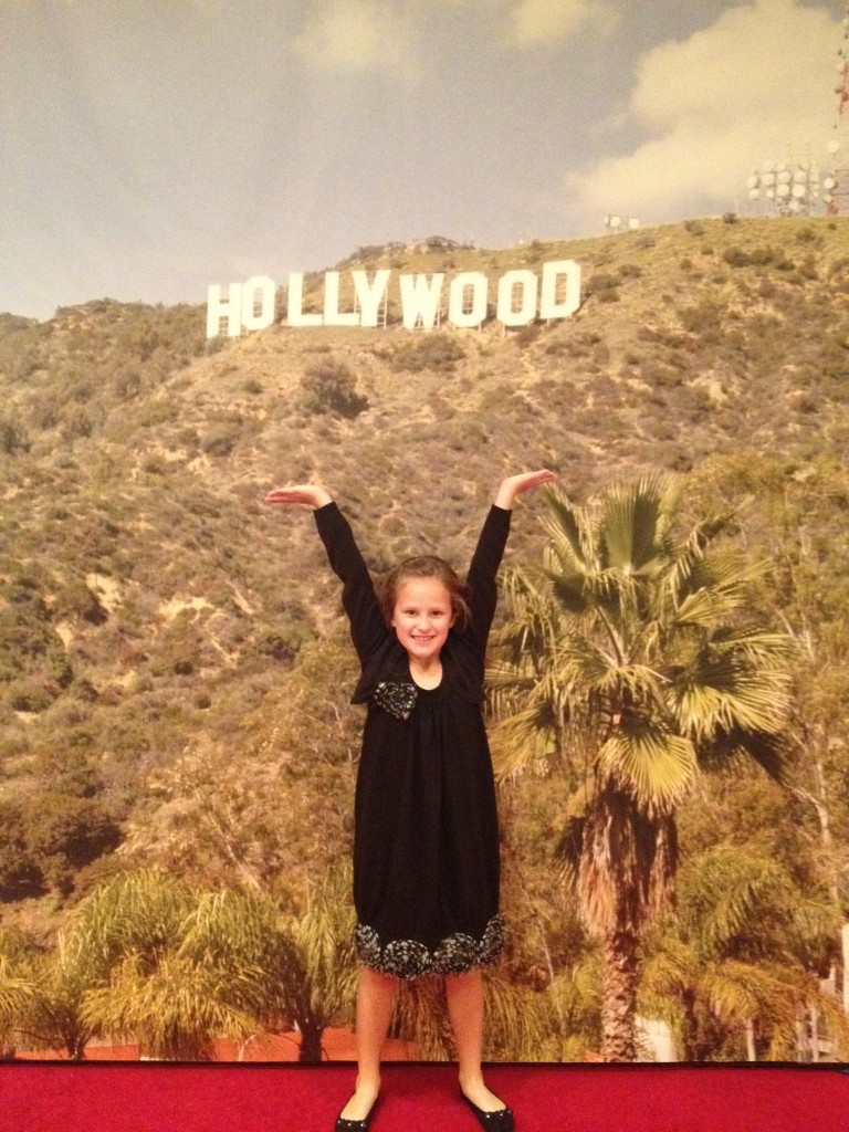 Carley in the red carpet room