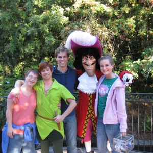Miss Lancaster and family with Peter Pan and Captain Hook
