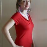 Krystal Donovan sporting her patriotic outfit