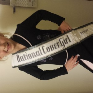 Kristi rocking her interview suit and National Cover Girl sash!