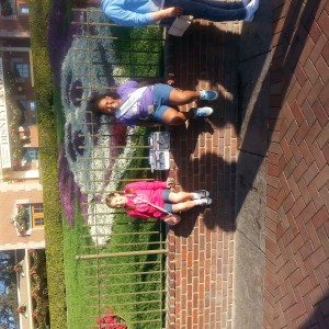 lacrissa and pearl smith in front of Mikey mouse