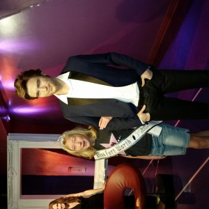 2014 Harlie Harris with Robert Pattinson at Madame Tussauds wax museum.