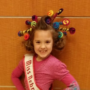 Miss Nebraska Princess Kadynce Mullins ready for crazy hair rehearsal