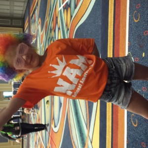Kristi rocking the Clown wig!