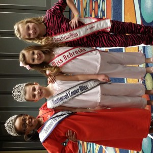 Miss Nebraska Princess Kadynce Mullins with the princess national queens at the pajama rehearsal