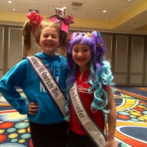 All-American Queen , Sophia Takla and Pre-Teen Saphire Lapointe  at crazy hair rehearsal .