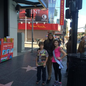 Saphire Lapointe with her mom and brother on Hollywood tour ( Service Team)