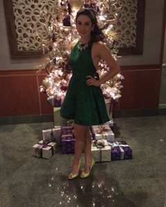Christmassy green casual wear dress worn by Spencer Petty, 2014 Miss TN Teen