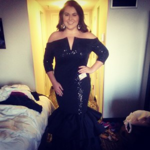 Alexis Ozerov before AA Miss evening gown