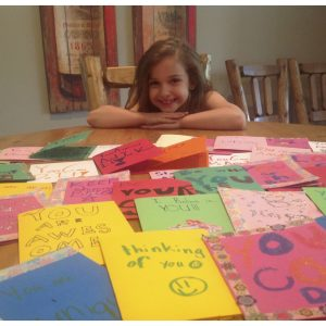 Danica Byrne, NAM Miss Minnesota Jr. Pre-Teen, made cards for hospitalized kids all across the country