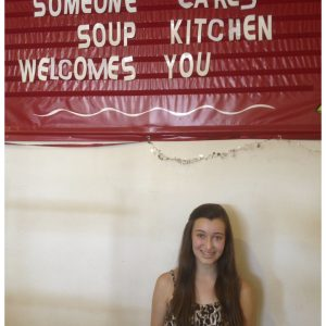 Danielle Deweese, NAM California Finalist, volunteers at a Soup Kitchen for her Community Servie