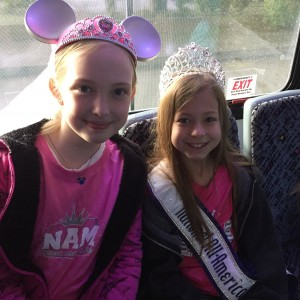 Jr. Preteen Queen Hayleigh Ranf and Megan Williams talent winner on the bus to Disneyland!