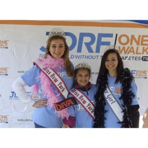 Lauren Schwartzberg, Cynthia Rodriguez and Nicole Carpenter participate in the Juvenile Diabetes Research Foundation Walk for their National American Miss Community Service Project