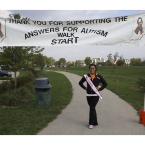 McKenzie Shevlot, NAM Miss Indiana 2012, represented National American Miss at the Answers for Autism Walk