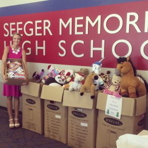 Miss Indiana Teen, Katelyn Market, collected and donated items for children affected by the war for her NAM Community Service Project