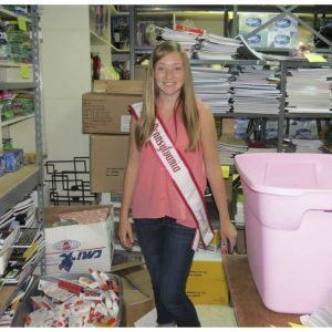 Miss Pennsylvania Pre-Teen, Sydney Rowland, gives back at the North Hills Community Outreach by donating and distributing school supplies
