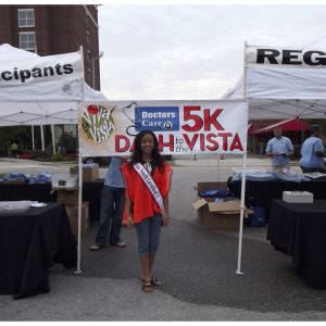 Miss South Carolina Pre-Teen, Felicia McGill, gives back at the Doctor's Care Viva la Vista 5k Dash