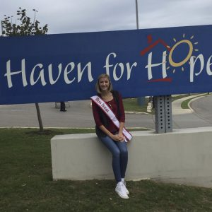 Rebecca James, Miss Texas Jr. Teen, volunteered her time on the Haven for Hope campus for her NAM Community Service Project