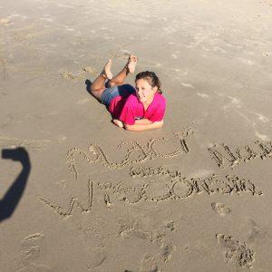 JPT Maci Williams at the Santa Monica Pier on the beach