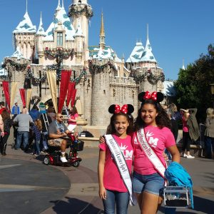 Miss Indiana Pre-Teen Cover Girl 2016, Carmello Arredondo, with National American Miss Pre-Teen 2015-2016 Shayla Montgomery at Disneyland