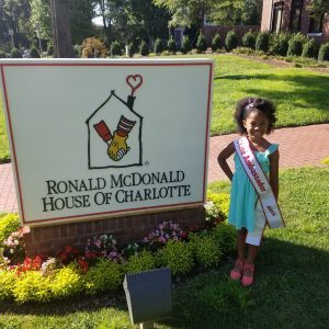 "7/31/17 Nia Sands' first official volunteer activity as North Carolina State Ambassador! She dropped off a donation of activity books and puzzles as part of the Ronald McDonald ""Year of Love"" program.  <3"