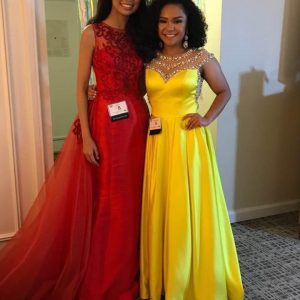California Jr Teen Lauren Howard in yellow and Teen Annie Lu