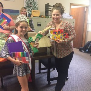 miss Pennsylvania Preteen 2017, Madelyn Sheffel, distributing school supplies to foster care facility