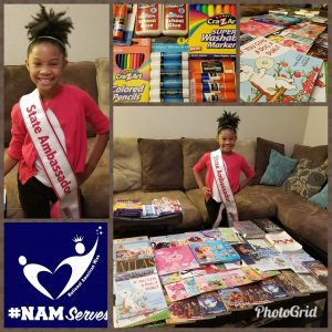 #NAMServes Hurricane Harvey Relief Project. Nia has collected over 100 books and several school supplies to help restock the schools that were impacted!