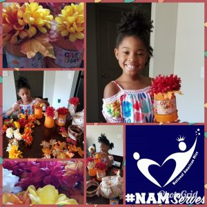 Nia making fall centerpieces to drop off at the Ronald McDonald House.