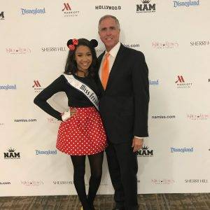 Disney Character Rehearsal - Morgan Elston Jr Teen Miss Fresno, CA as Minnie Mouse - picture with Steve Mayes - Nationals 2017