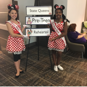 2017 Pre-Teen State Queens Miss Ohio and NNY having fun at Disney Character Rehearsal.